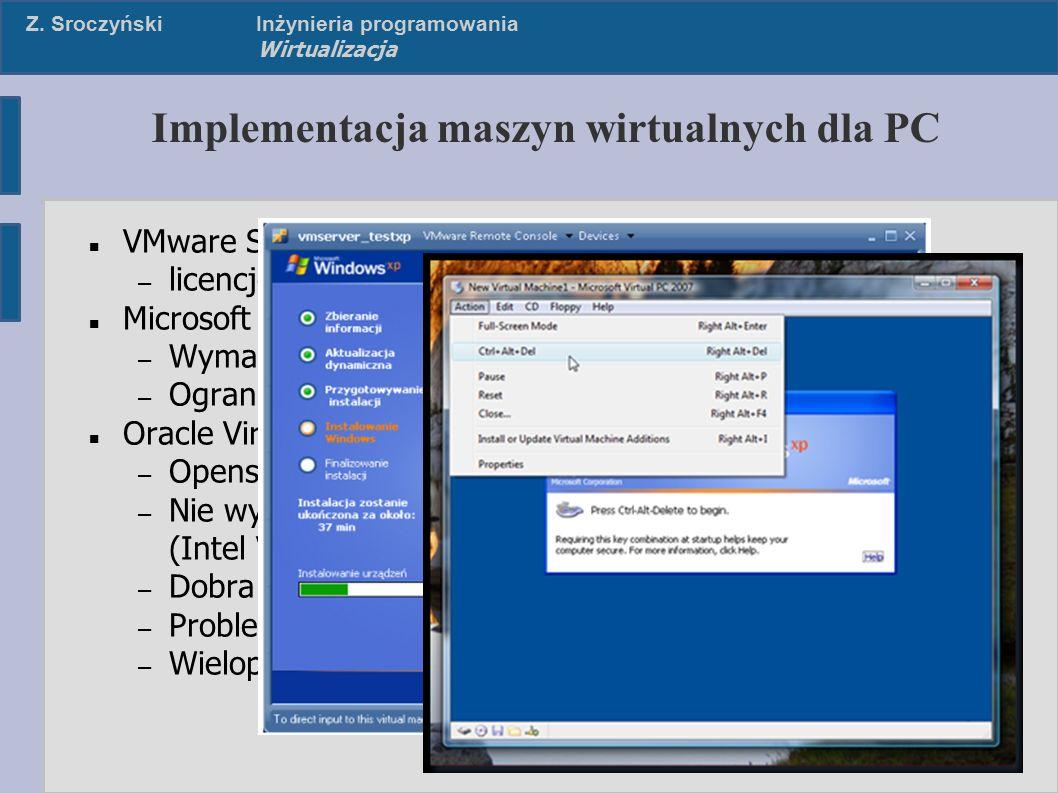 Z. SroczyńskiInżynieria programowania Wirtualizacja Implementacja maszyn wirtualnych dla PC VMware Server/Workstation – licencjonowanie Microsoft Virt