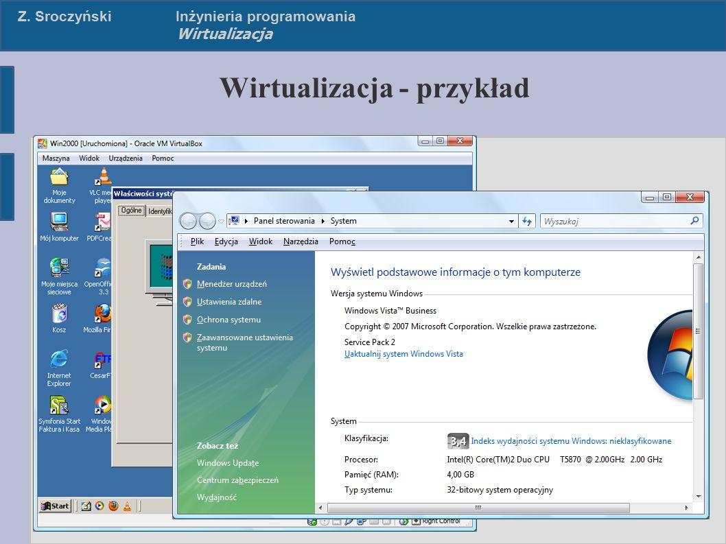 Z. SroczyńskiInżynieria programowania Wirtualizacja Wirtualizacja - przykład