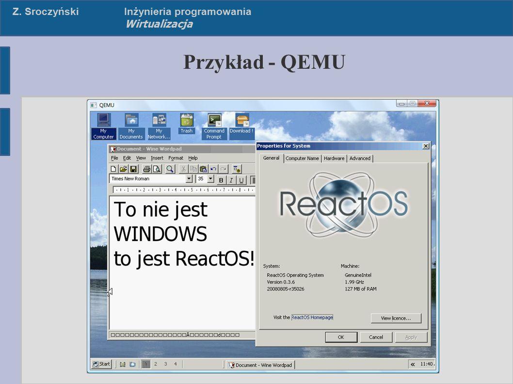 Z. SroczyńskiInżynieria programowania Wirtualizacja Poziomy emulacji – Emulacja API