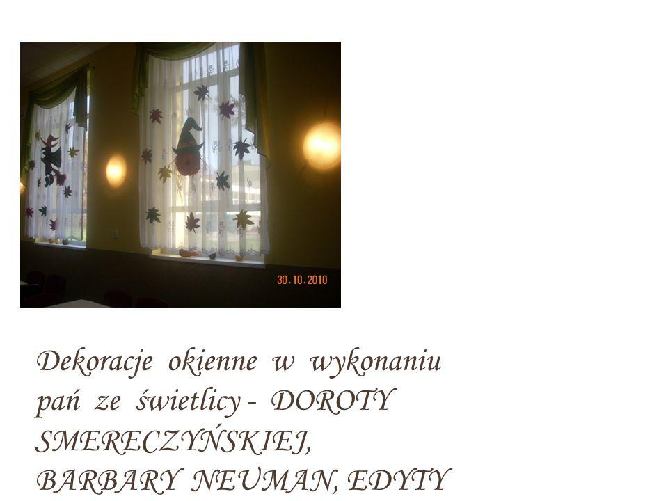 Dekoracje okienne w wykonaniu pań ze świetlicy - DOROTY SMERECZYŃSKIEJ, BARBARY NEUMAN, EDYTY GÓRKI, ZOFII DREWNIAK I AGATY ŚLIWIŃSKIEJ - CZEMPIEL