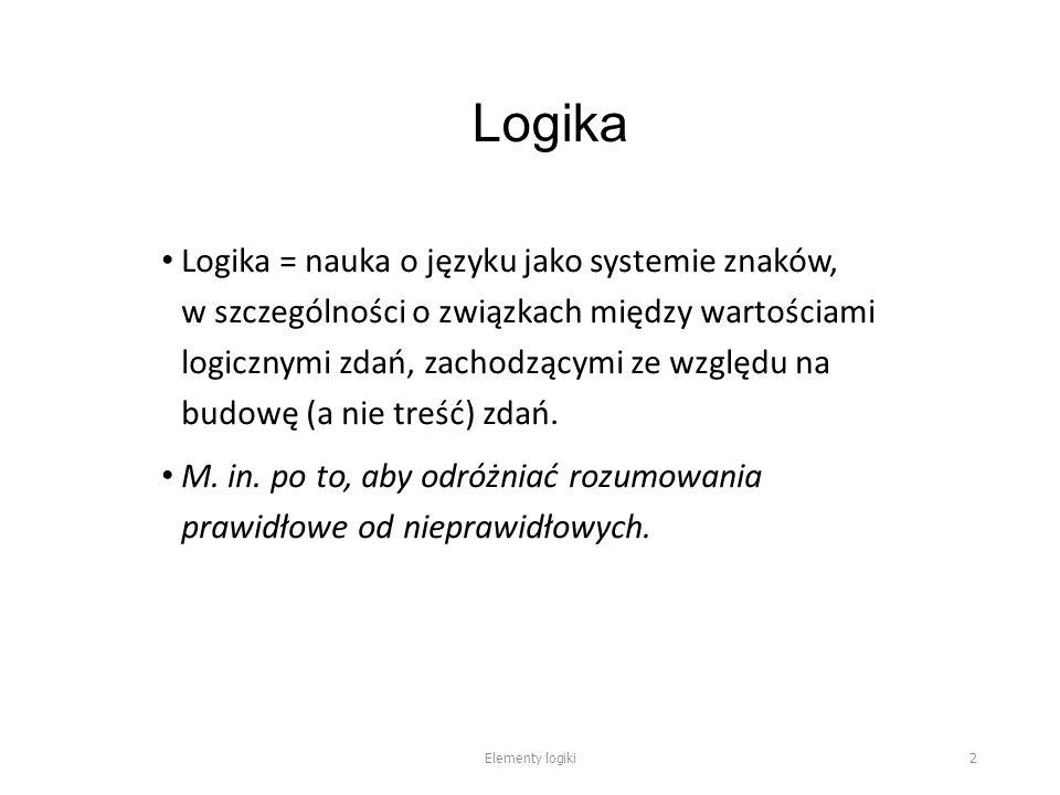 Logika Logika = nauka o języku jako systemie znaków, w szczególności o związkach między wartościami logicznymi zdań, zachodzącymi ze względu na budowę (a nie treść) zdań.