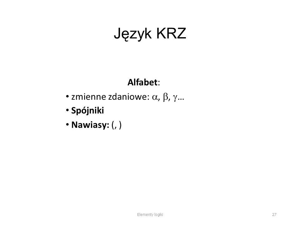 Język KRZ Alfabet: zmienne zdaniowe: , ,  … Spójniki Nawiasy: (, ) Elementy logiki 27