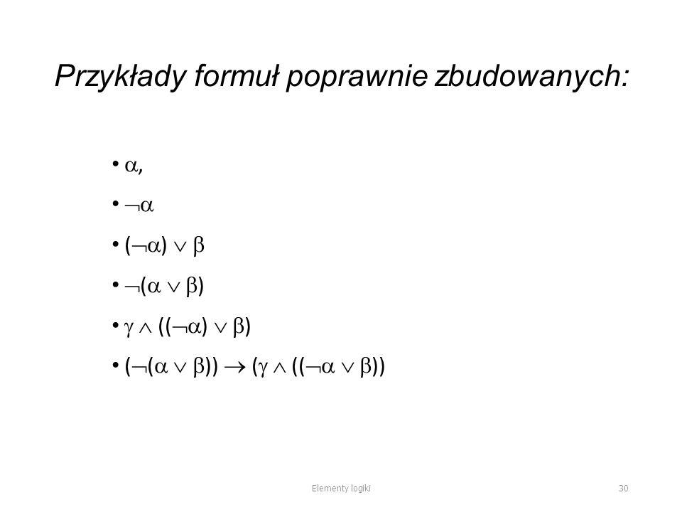 Przykłady formuł poprawnie zbudowanych: ,  (  )    (    )   ((  )   ) (  (    ))  (   ((    )) Elementy logiki 30