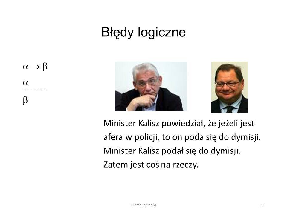 Błędy logiczne     -------------------------  Minister Kalisz powiedział, że jeżeli jest afera w policji, to on poda się do dymisji.