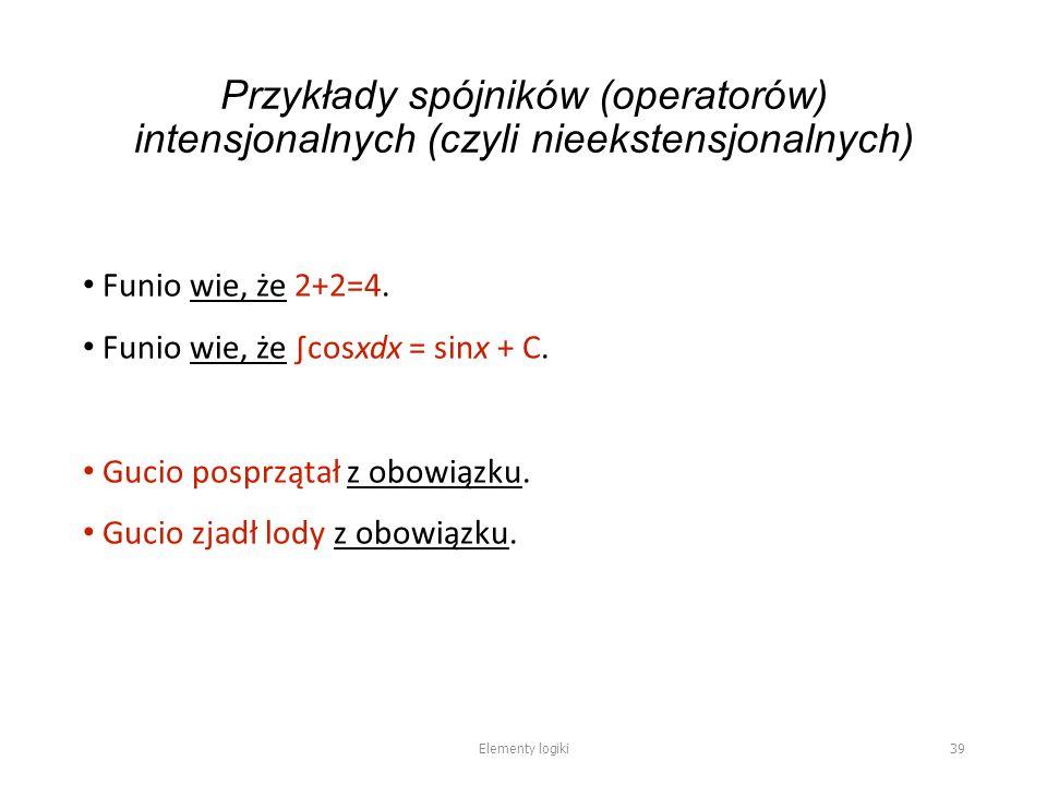 Przykłady spójników (operatorów) intensjonalnych (czyli nieekstensjonalnych) Funio wie, że 2+2=4.