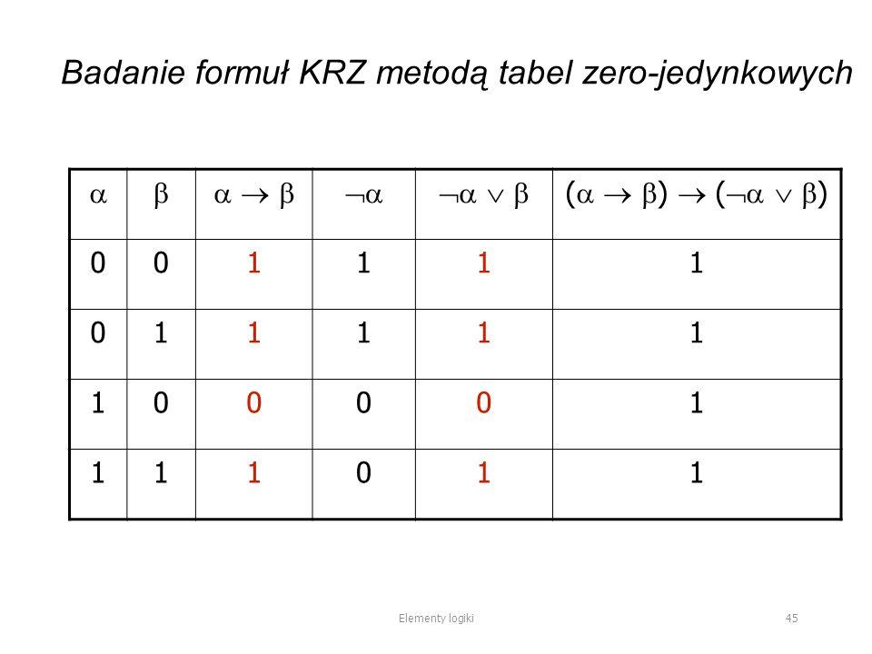        (    )  (    ) 001111 011111 100001 111011 Elementy logiki 45 Badanie formuł KRZ metodą tabel zero-jedynkowych