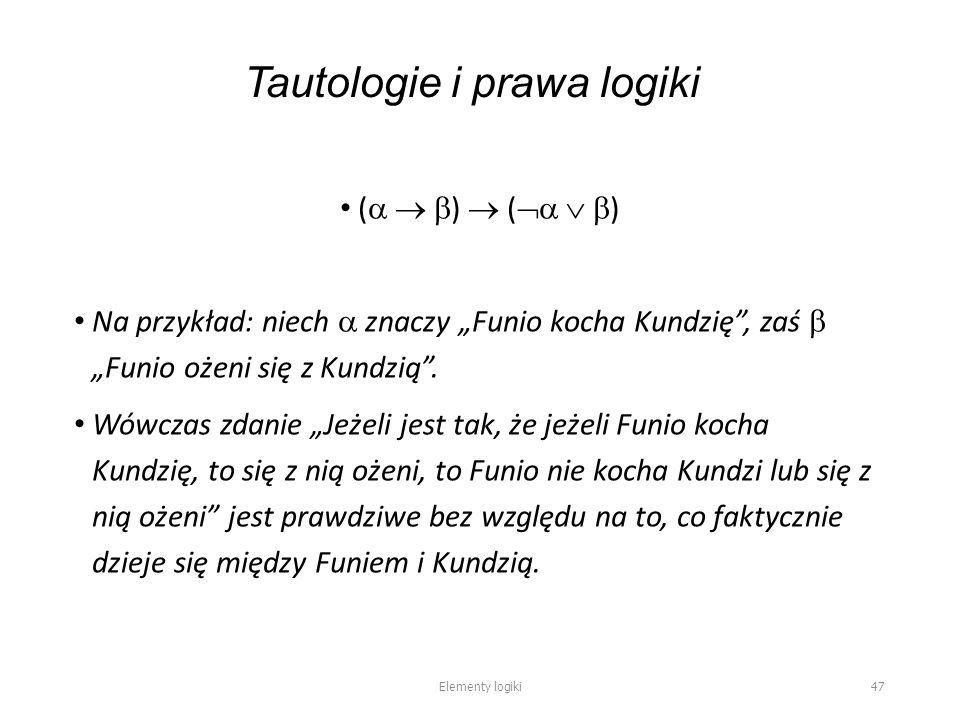 """Tautologie i prawa logiki (    )  (    ) Na przykład: niech  znaczy """"Funio kocha Kundzię , zaś  """"Funio ożeni się z Kundzią ."""