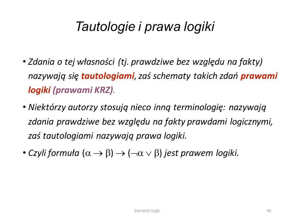 Tautologie i prawa logiki Zdania o tej własności (tj.