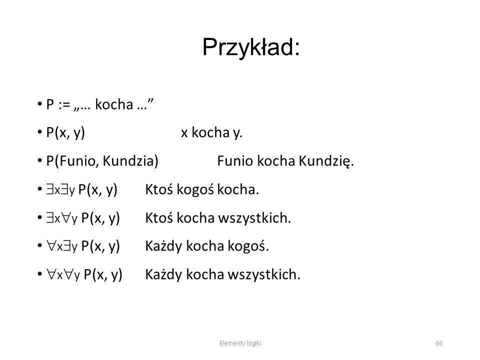 """Przykład: P := """"… kocha … P(x, y)x kocha y. P(Funio, Kundzia)Funio kocha Kundzię."""