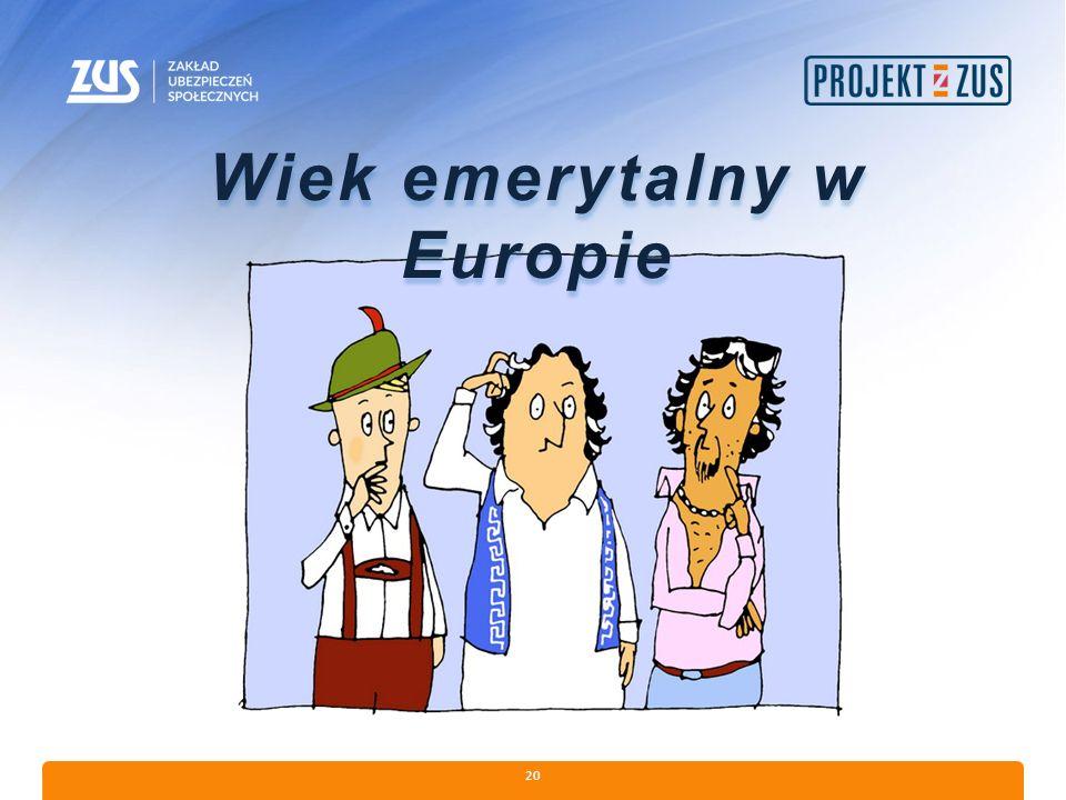 20 Wiek emerytalny w Europie