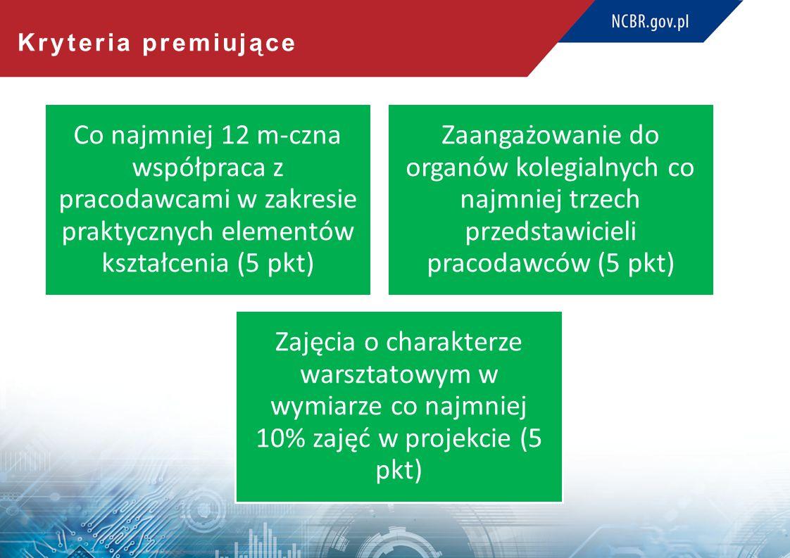Kryteria premiujące Co najmniej 12 m-czna współpraca z pracodawcami w zakresie praktycznych elementów kształcenia (5 pkt) Zajęcia o charakterze warsztatowym w wymiarze co najmniej 10% zajęć w projekcie (5 pkt) Zaangażowanie do organów kolegialnych co najmniej trzech przedstawicieli pracodawców (5 pkt)