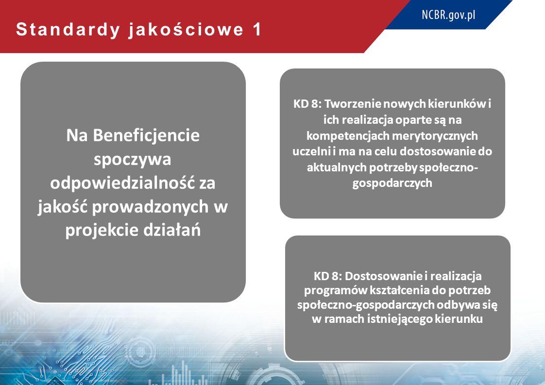 Standardy jakościowe 1 Na Beneficjencie spoczywa odpowiedzialność za jakość prowadzonych w projekcie działań KD 8: Tworzenie nowych kierunków i ich realizacja oparte są na kompetencjach merytorycznych uczelni i ma na celu dostosowanie do aktualnych potrzeby społeczno- gospodarczych KD 8: Dostosowanie i realizacja programów kształcenia do potrzeb społeczno-gospodarczych odbywa się w ramach istniejącego kierunku