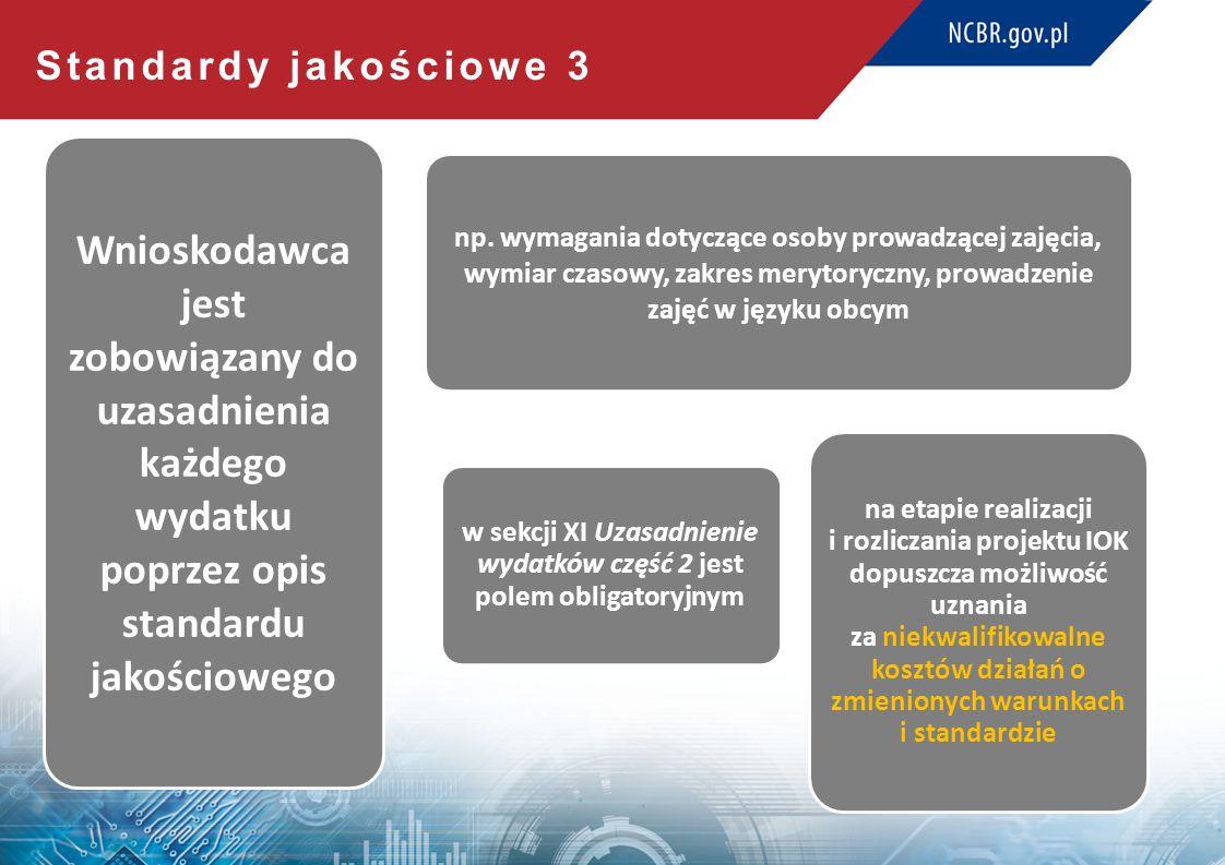 Standardy jakościowe 3 Wnioskodawca jest zobowiązany do uzasadnienia każdego wydatku poprzez opis standardu jakościowego np.