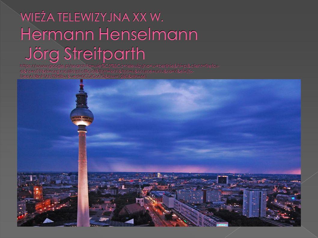  Najwyższa budowla w Niemczech  Taras widokowy na wysokości 204 metrów  Pełny obrót wokół osi w ciągu pół godziny  Pierścień z restauracją  http://pl.wikipedia.org/wiki/Fernsehturm_w_Berlini e