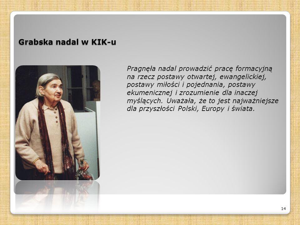 Grabska nadal w KIK-u 14 Pragnęła nadal prowadzić pracę formacyjną na rzecz postawy otwartej, ewangelickiej, postawy miłości i pojednania, postawy ekumenicznej i zrozumienie dla inaczej myślących.