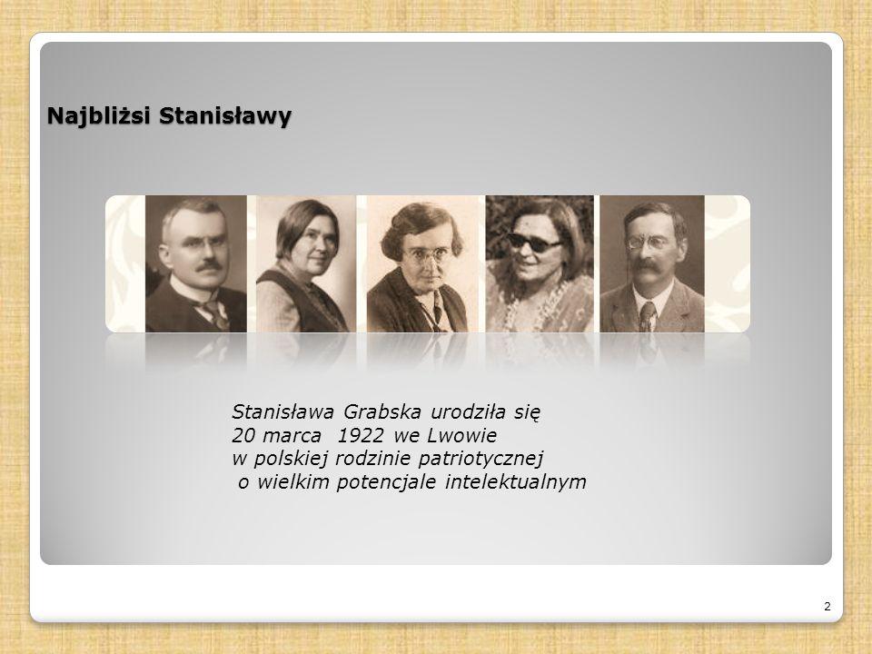 Najbliżsi Stanisławy 2 Stanisława Grabska urodziła się 20 marca 1922 we Lwowie w polskiej rodzinie patriotycznej o wielkim potencjale intelektualnym