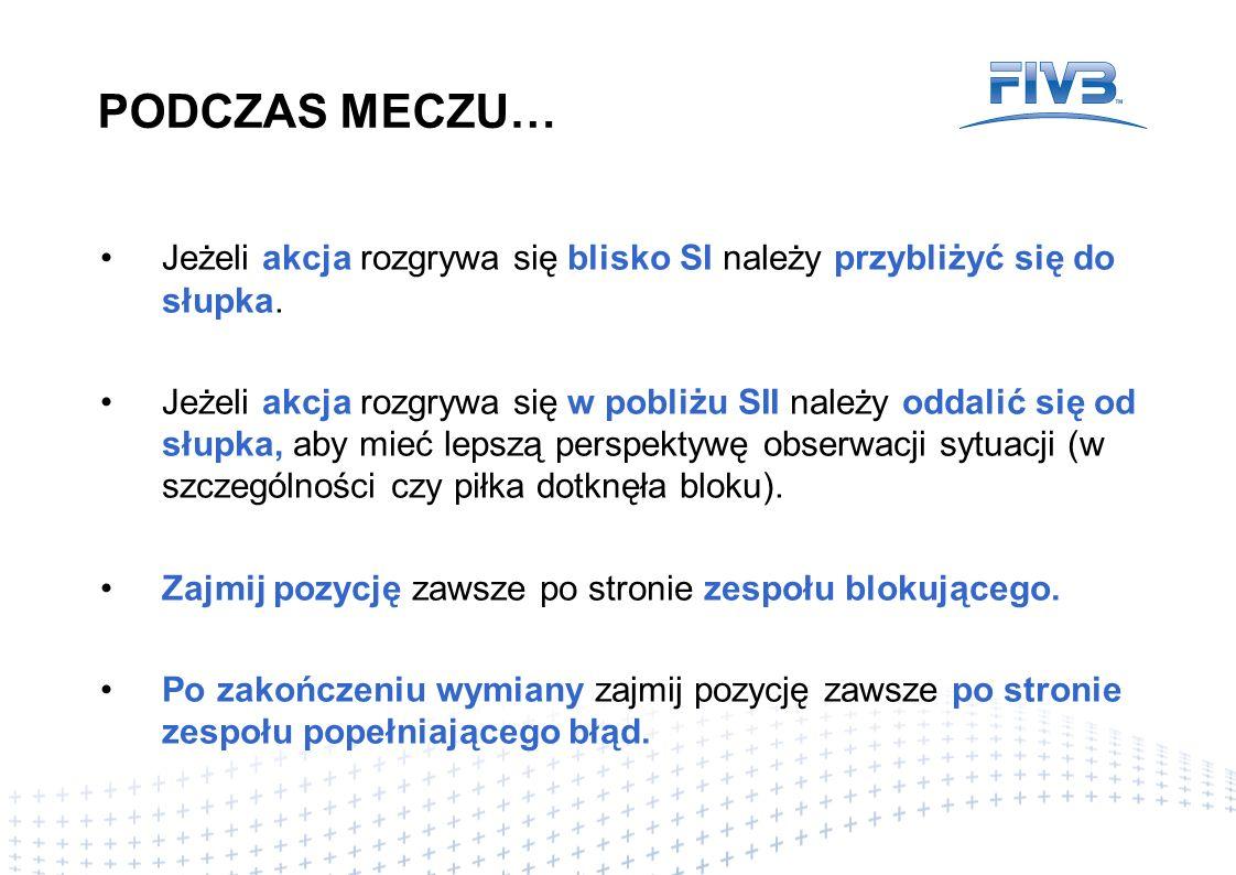 PODCZAS MECZU… Zajmować prawidłową optycznie pozycję dla oceny potencjalnych błędów.