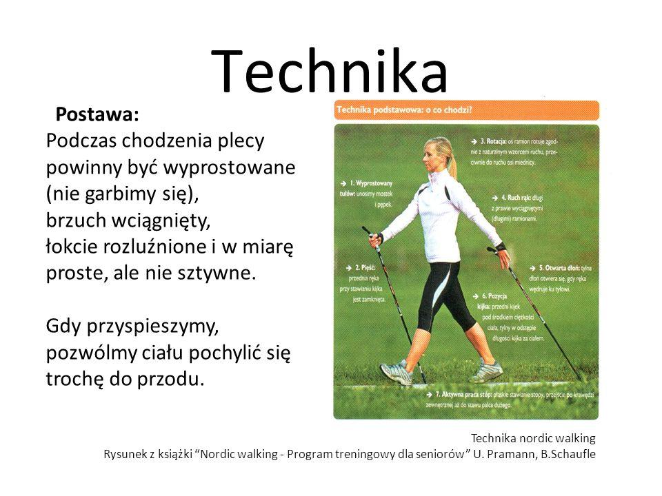 Technika Postawa: Podczas chodzenia plecy powinny być wyprostowane (nie garbimy się), brzuch wciągnięty, łokcie rozluźnione i w miarę proste, ale nie