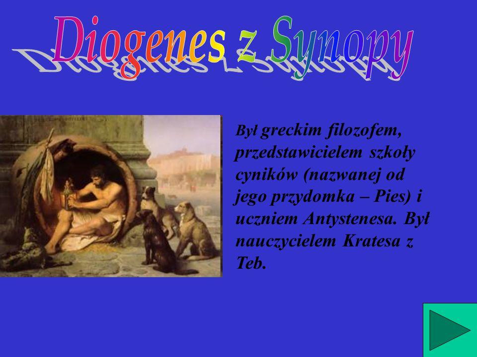 Był greckim filozofem, przedstawicielem szkoły cyników (nazwanej od jego przydomka – Pies) i uczniem Antystenesa.