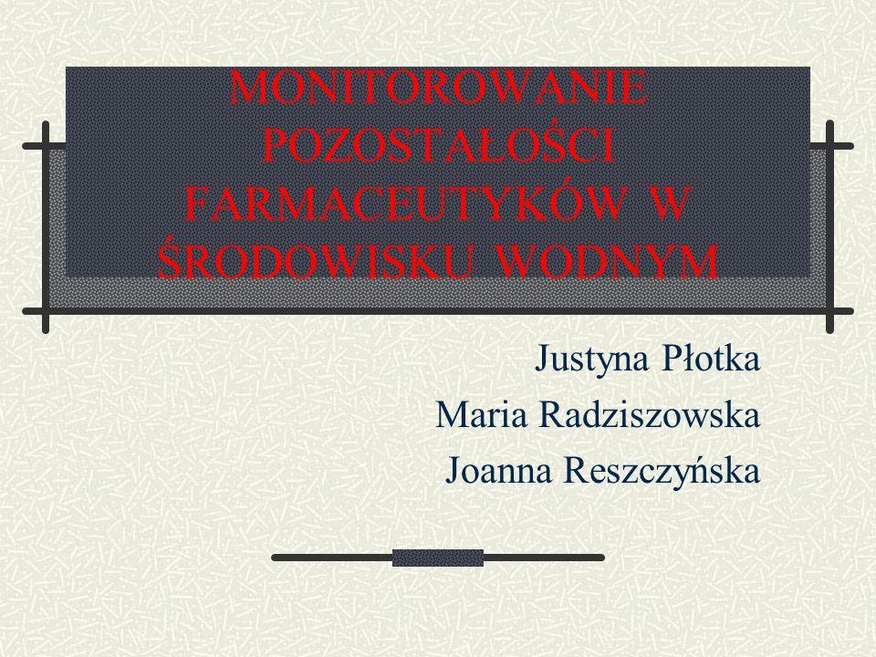 MONITOROWANIE POZOSTAŁOŚCI FARMACEUTYKÓW W ŚRODOWISKU WODNYM Justyna Płotka Maria Radziszowska Joanna Reszczyńska