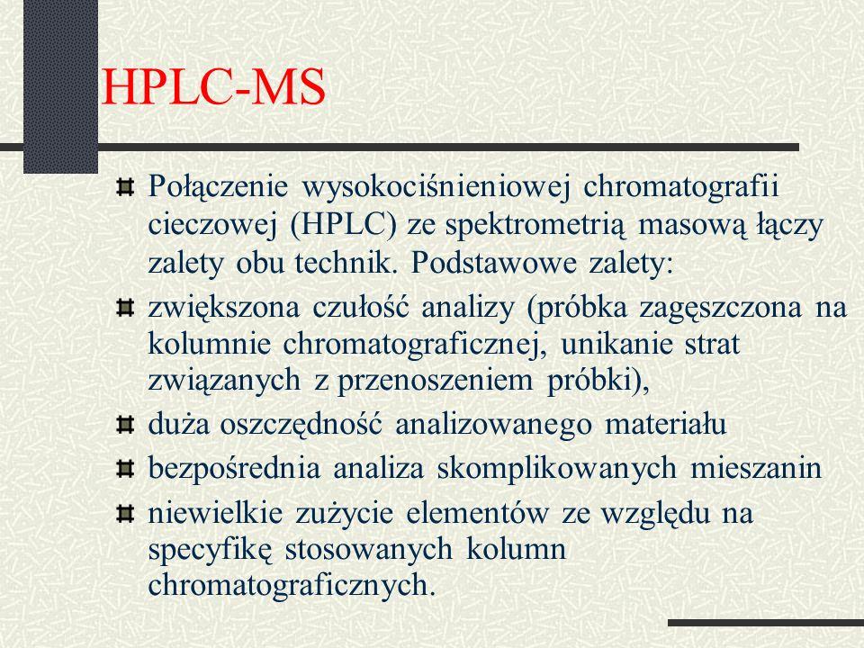 HPLC-MS Połączenie wysokociśnieniowej chromatografii cieczowej (HPLC) ze spektrometrią masową łączy zalety obu technik. Podstawowe zalety: zwiększona