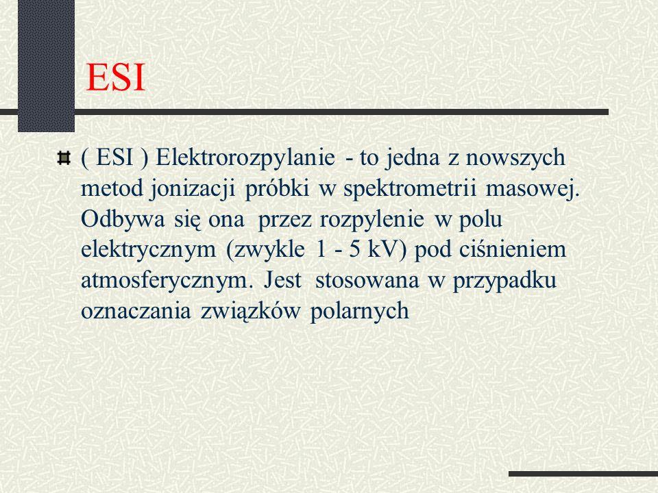 ESI ( ESI ) Elektrorozpylanie - to jedna z nowszych metod jonizacji próbki w spektrometrii masowej. Odbywa się ona przez rozpylenie w polu elektryczny