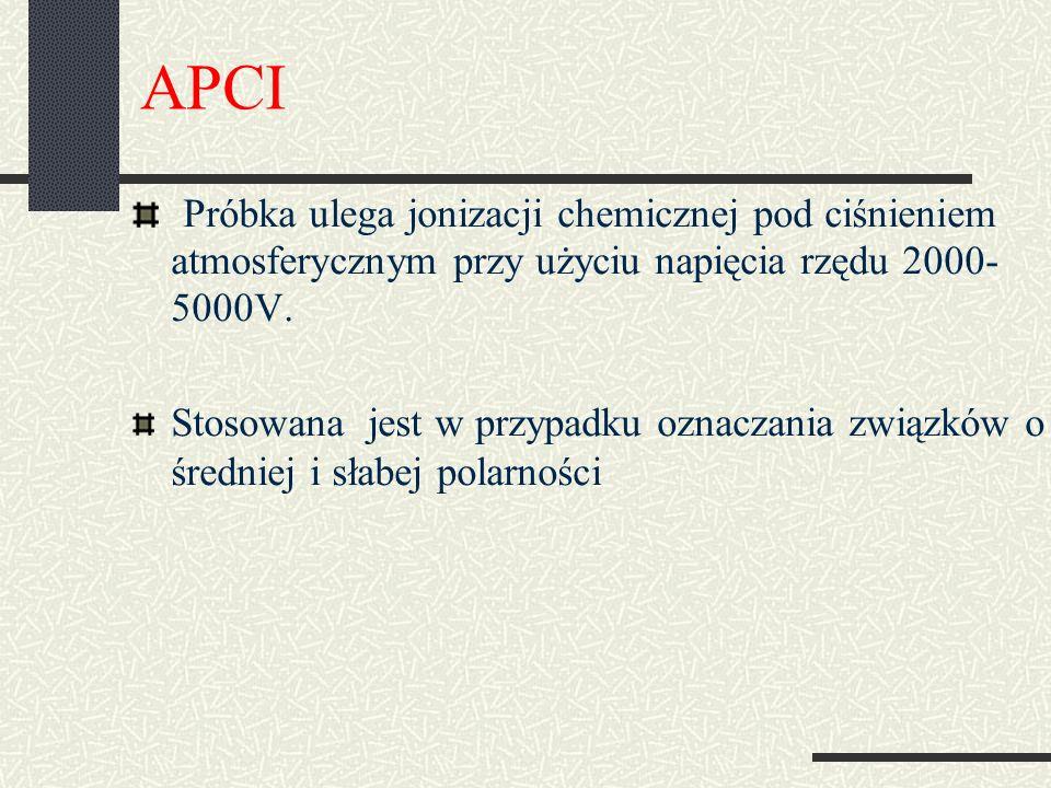 APCI Próbka ulega jonizacji chemicznej pod ciśnieniem atmosferycznym przy użyciu napięcia rzędu 2000- 5000V.
