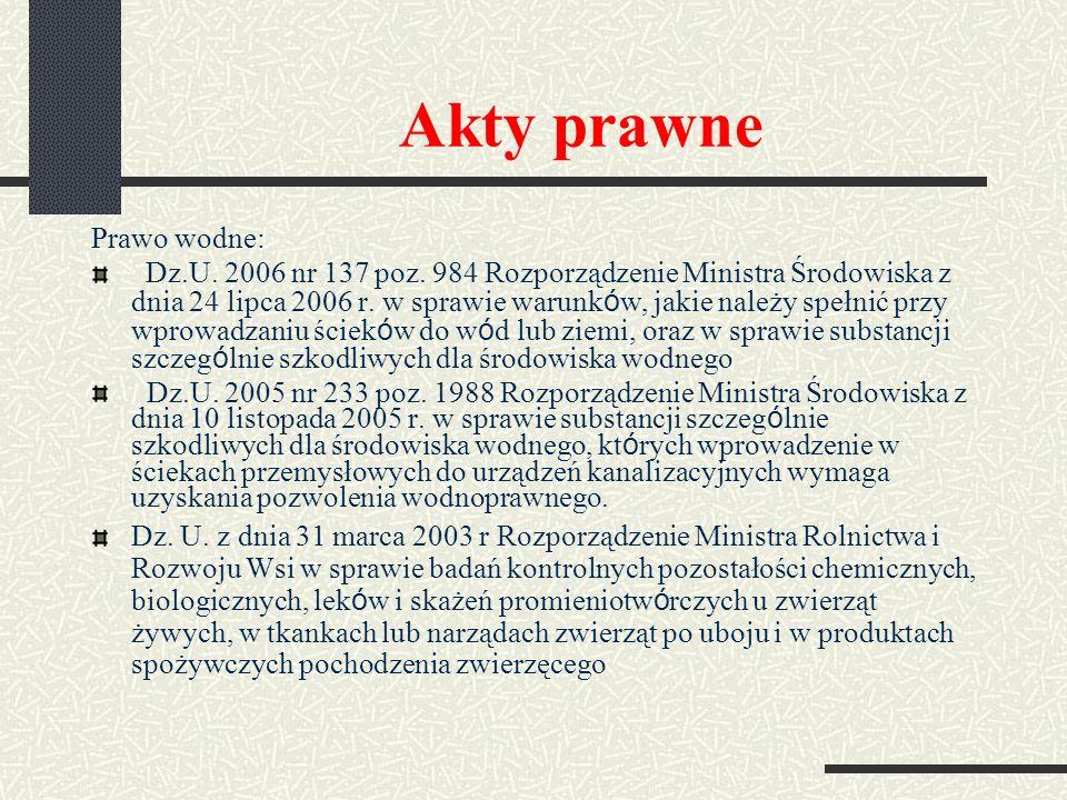 Akty prawne Prawo wodne: Dz.U. 2006 nr 137 poz. 984 Rozporządzenie Ministra Środowiska z dnia 24 lipca 2006 r. w sprawie warunk ó w, jakie należy speł