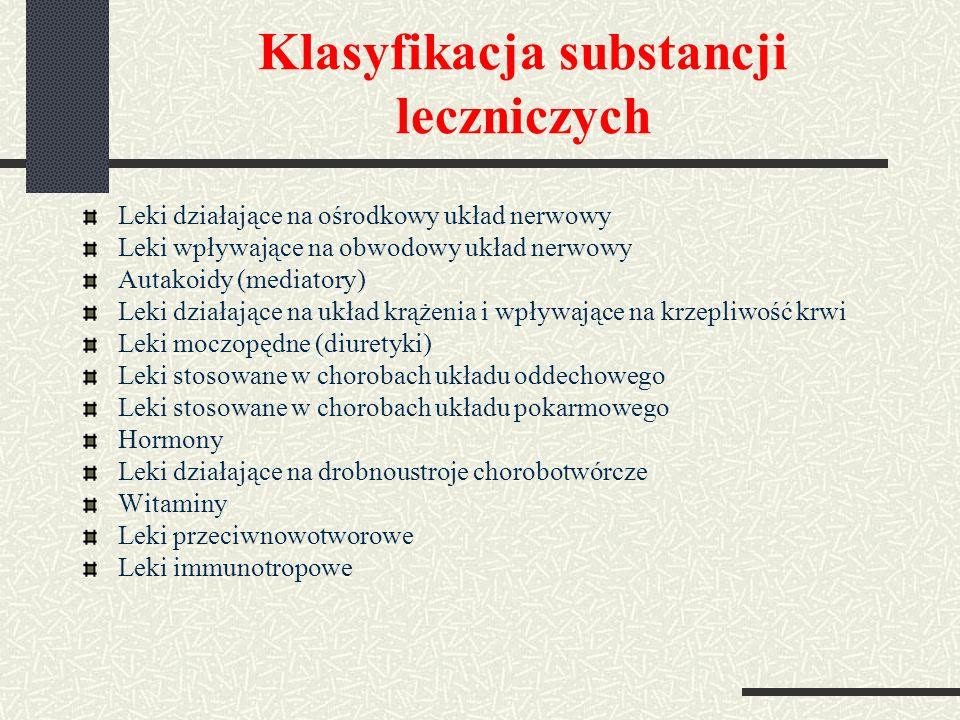 Klasyfikacja substancji leczniczych Leki działające na ośrodkowy układ nerwowy Leki wpływające na obwodowy układ nerwowy Autakoidy (mediatory) Leki działające na układ krążenia i wpływające na krzepliwość krwi Leki moczopędne (diuretyki) Leki stosowane w chorobach układu oddechowego Leki stosowane w chorobach układu pokarmowego Hormony Leki działające na drobnoustroje chorobotwórcze Witaminy Leki przeciwnowotworowe Leki immunotropowe