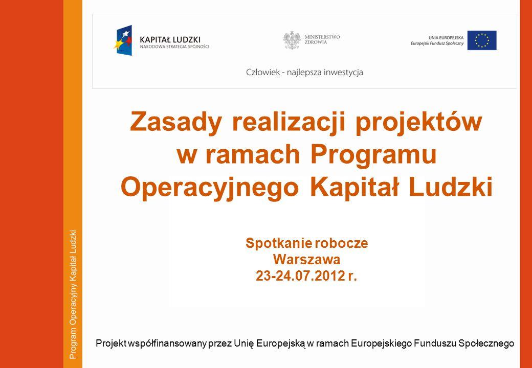 1 Zasady realizacji projektów w ramach Programu Operacyjnego Kapitał Ludzki Spotkanie robocze Warszawa 23-24.07.2012 r.