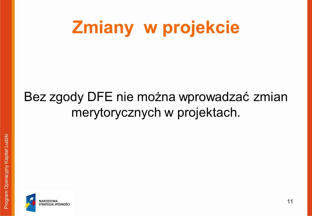 Zmiany w projekcie Bez zgody DFE nie można wprowadzać zmian merytorycznych w projektach. 11