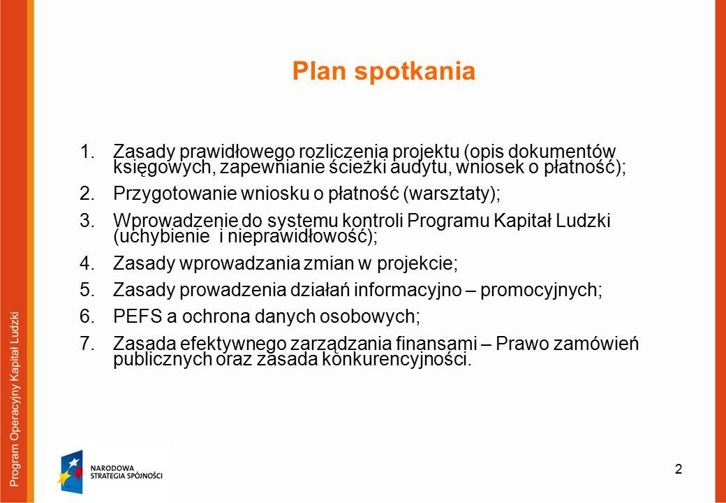 2 1.Zasady prawidłowego rozliczenia projektu (opis dokumentów księgowych, zapewnianie ścieżki audytu, wniosek o płatność); 2.Przygotowanie wniosku o płatność (warsztaty); 3.Wprowadzenie do systemu kontroli Programu Kapitał Ludzki (uchybienie i nieprawidłowość); 4.Zasady wprowadzania zmian w projekcie; 5.Zasady prowadzenia działań informacyjno – promocyjnych; 6.PEFS a ochrona danych osobowych; 7.Zasada efektywnego zarządzania finansami – Prawo zamówień publicznych oraz zasada konkurencyjności.