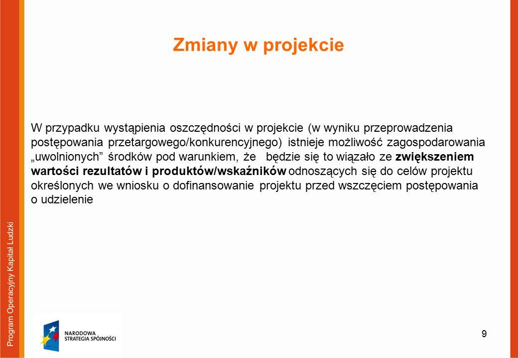"""Zmiany w projekcie W przypadku wystąpienia oszczędności w projekcie (w wyniku przeprowadzenia postępowania przetargowego/konkurencyjnego) istnieje możliwość zagospodarowania """"uwolnionych środków pod warunkiem, że będzie się to wiązało ze zwiększeniem wartości rezultatów i produktów/wskaźników odnoszących się do celów projektu określonych we wniosku o dofinansowanie projektu przed wszczęciem postępowania o udzielenie 9"""