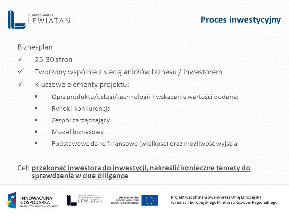 Projekt współfinansowany przez Unię Europejską w ramach Europejskiego Funduszu Rozwoju Regionalnego Proces inwestycyjny Biznesplan 25-30 stron Tworzony wspólnie z siecią aniołów biznesu / inwestorem Kluczowe elementy projektu:  Opis produktu/usługi/technologii + wskazanie wartości dodanej  Rynek i konkurencja  Zespół zarządzający  Model biznesowy  Podstawowe dane finansowe (wielkość) oraz możliwość wyjścia Cel: przekonać inwestora do inwestycji, nakreślić konieczne tematy do sprawdzenia w due diligence
