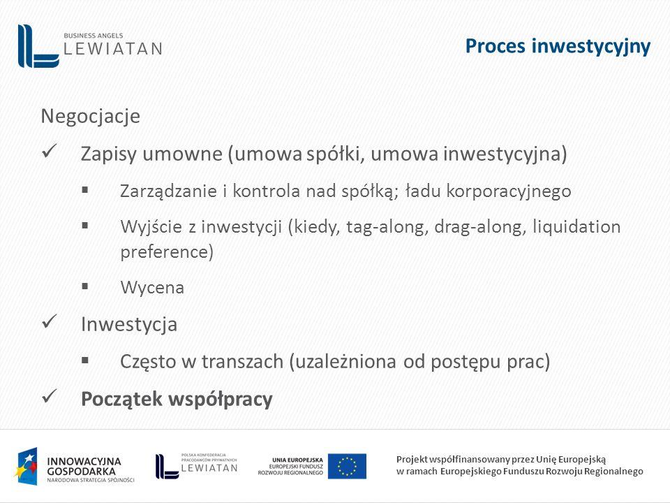 Projekt współfinansowany przez Unię Europejską w ramach Europejskiego Funduszu Rozwoju Regionalnego Proces inwestycyjny Negocjacje Zapisy umowne (umowa spółki, umowa inwestycyjna)  Zarządzanie i kontrola nad spółką; ładu korporacyjnego  Wyjście z inwestycji (kiedy, tag-along, drag-along, liquidation preference)  Wycena Inwestycja  Często w transzach (uzależniona od postępu prac) Początek współpracy