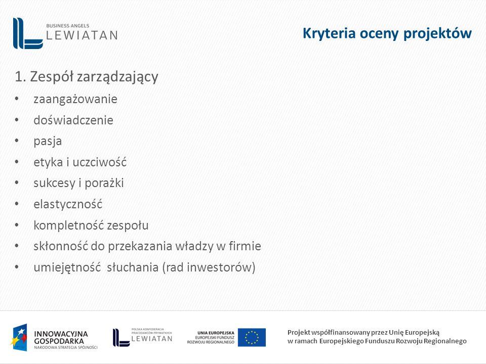 Projekt współfinansowany przez Unię Europejską w ramach Europejskiego Funduszu Rozwoju Regionalnego 1. Zespół zarządzający zaangażowanie doświadczenie