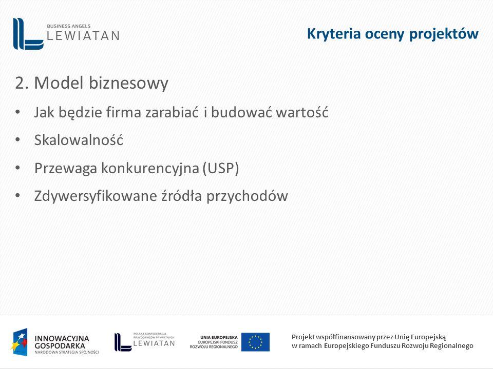 Projekt współfinansowany przez Unię Europejską w ramach Europejskiego Funduszu Rozwoju Regionalnego 2. Model biznesowy Jak będzie firma zarabiać i bud