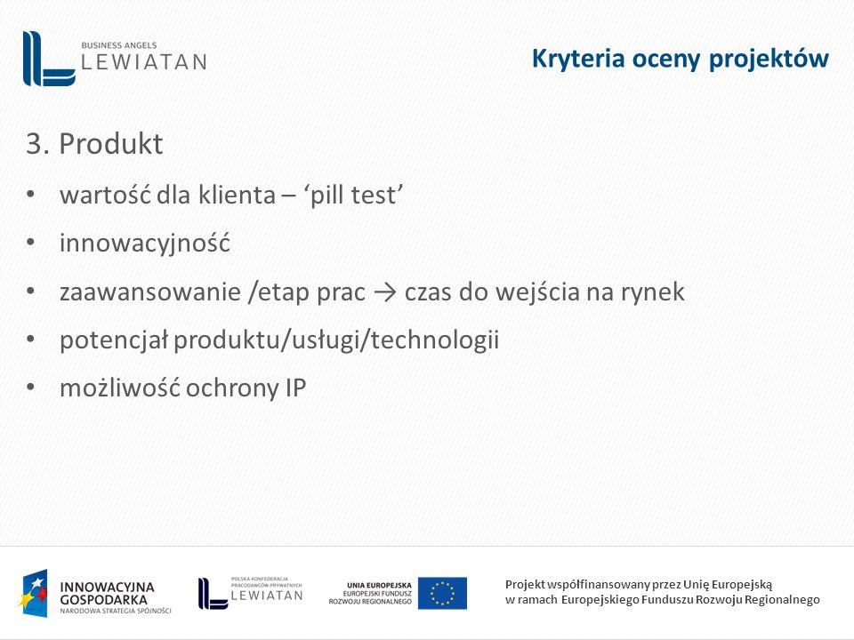 Projekt współfinansowany przez Unię Europejską w ramach Europejskiego Funduszu Rozwoju Regionalnego 3. Produkt wartość dla klienta – 'pill test' innow