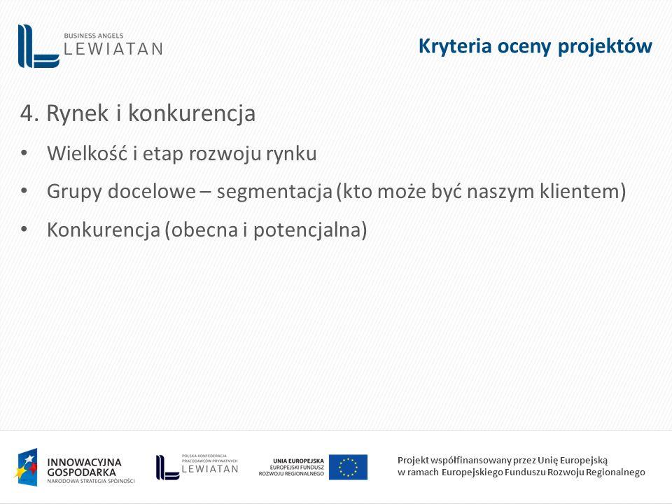 Projekt współfinansowany przez Unię Europejską w ramach Europejskiego Funduszu Rozwoju Regionalnego 4. Rynek i konkurencja Wielkość i etap rozwoju ryn