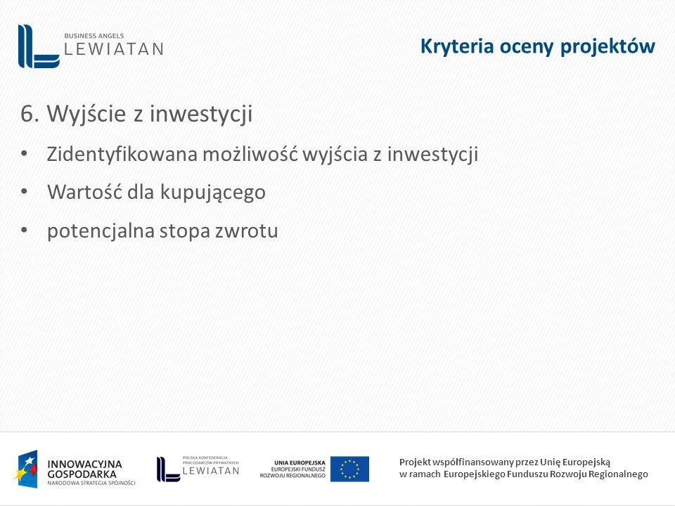 Projekt współfinansowany przez Unię Europejską w ramach Europejskiego Funduszu Rozwoju Regionalnego 6. Wyjście z inwestycji Zidentyfikowana możliwość