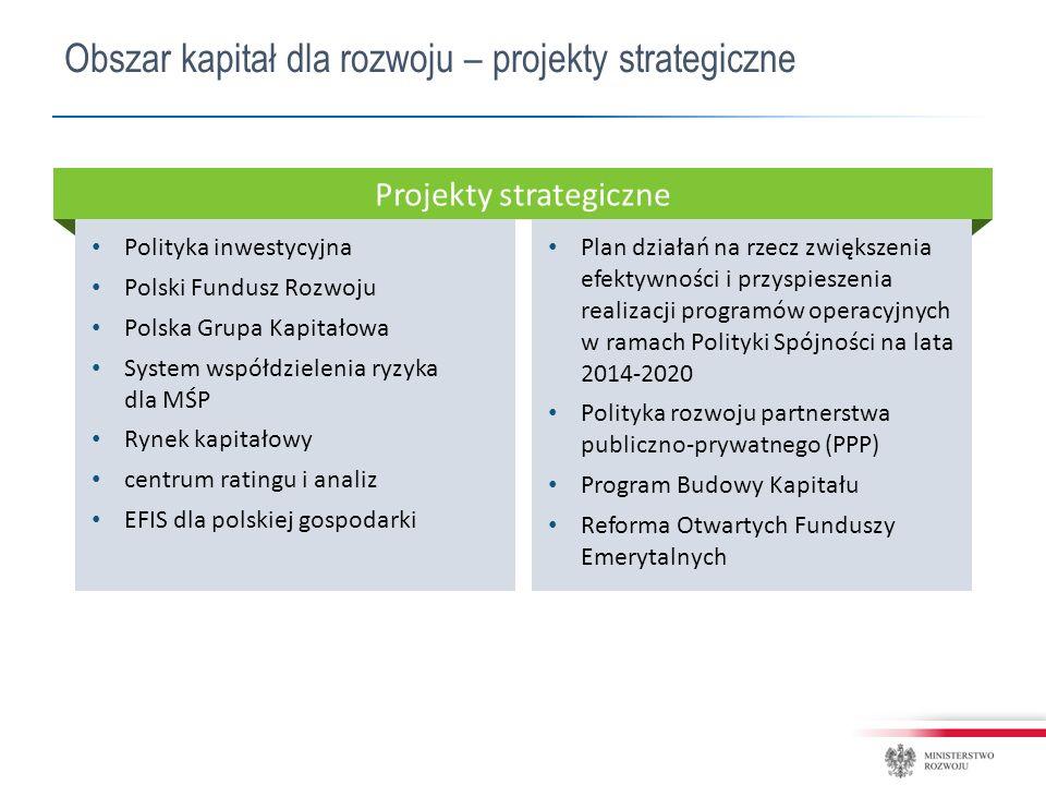 Polityka inwestycyjna Polski Fundusz Rozwoju Polska Grupa Kapitałowa System współdzielenia ryzyka dla MŚP Rynek kapitałowy centrum ratingu i analiz EFIS dla polskiej gospodarki Plan działań na rzecz zwiększenia efektywności i przyspieszenia realizacji programów operacyjnych w ramach Polityki Spójności na lata 2014-2020 Polityka rozwoju partnerstwa publiczno-prywatnego (PPP) Program Budowy Kapitału Reforma Otwartych Funduszy Emerytalnych Projekty strategiczne Obszar kapitał dla rozwoju – projekty strategiczne