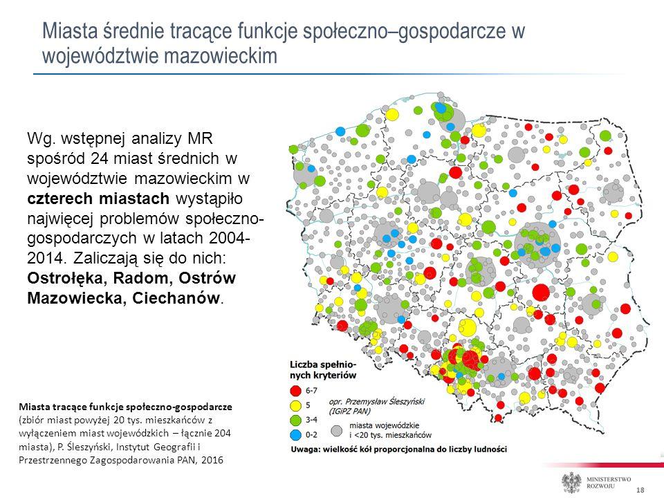 18 Miasta średnie tracące funkcje społeczno–gospodarcze w województwie mazowieckim Wg.