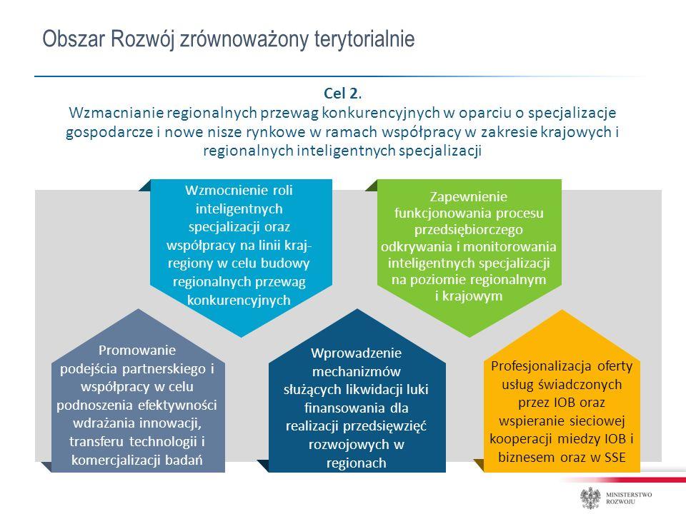 Obszar Rozwój zrównoważony terytorialnie Wzmocnienie roli inteligentnych specjalizacji oraz współpracy na linii kraj- regiony w celu budowy regionalnych przewag konkurencyjnych Zapewnienie funkcjonowania procesu przedsiębiorczego odkrywania i monitorowania inteligentnych specjalizacji na poziomie regionalnym i krajowym Profesjonalizacja oferty usług świadczonych przez IOB oraz wspieranie sieciowej kooperacji miedzy IOB i biznesem oraz w SSE Promowanie podejścia partnerskiego i współpracy w celu podnoszenia efektywności wdrażania innowacji, transferu technologii i komercjalizacji badań Wprowadzenie mechanizmów służących likwidacji luki finansowania dla realizacji przedsięwzięć rozwojowych w regionach Cel 2.