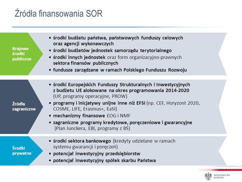 środki budżetu państwa, państwowych funduszy celowych oraz agencji wykonawczych środki budżetów jednostek samorządu terytorialnego środki innych jednostek oraz form organizacyjno-prawnych sektora finansów publicznych fundusze zarządzane w ramach Polskiego Funduszu Rozwoju Krajowe środki publiczne środki Europejskich Funduszy Strukturalnych i Inwestycyjnych z budżetu UE alokowane na okres programowania 2014-2020 (UP, programy operacyjne, PROW) programy i inicjatywy unijne inne niż EFSI (np.