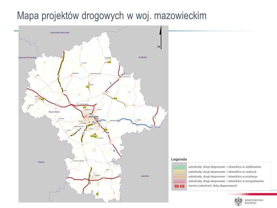 Mapa projektów drogowych w woj. mazowieckim