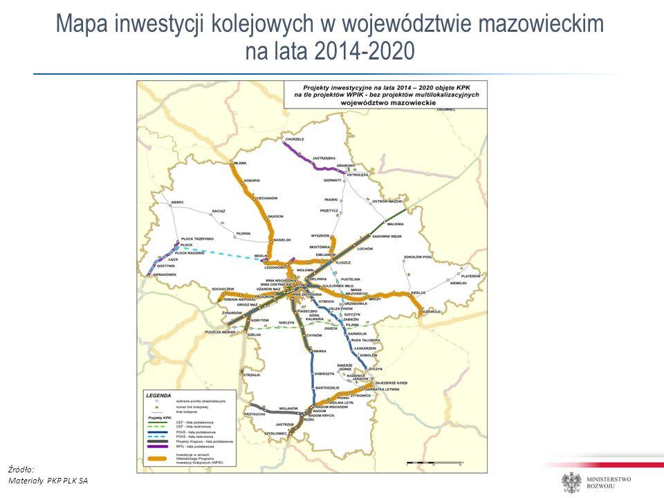 Mapa inwestycji kolejowych w województwie mazowieckim na lata 2014-2020 Źródło: Materiały PKP PLK SA