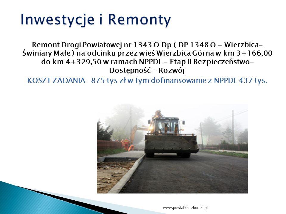Remont Drogi Powiatowej nr 1343 O Dp ( DP 1348 O - Wierzbica- Świniary Małe ) na odcinku przez wieś Wierzbica Górna w km 3+166,00 do km 4+329,50 w ramach NPPDL - Etap II Bezpieczeństwo- Dostępność - Rozwój KOSZT ZADANIA : 875 tys zł w tym dofinansowanie z NPPDL 437 tys.