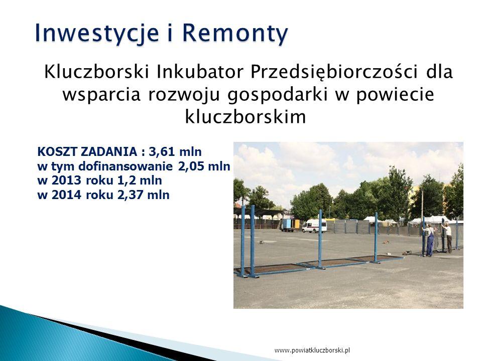 Kluczborski Inkubator Przedsiębiorczości dla wsparcia rozwoju gospodarki w powiecie kluczborskim www.powiatkluczborski.pl KOSZT ZADANIA : 3,61 mln w tym dofinansowanie 2,05 mln w 2013 roku 1,2 mln w 2014 roku 2,37 mln