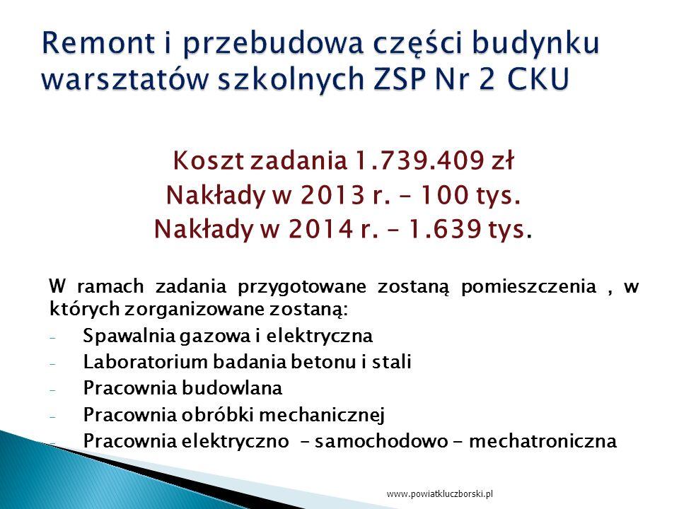 Koszt zadania 1.739.409 zł Nakłady w 2013 r. – 100 tys.