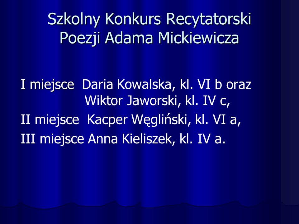Szkolny Konkurs Recytatorski Poezji Adama Mickiewicza I miejsce I miejsce Daria Kowalska, kl.